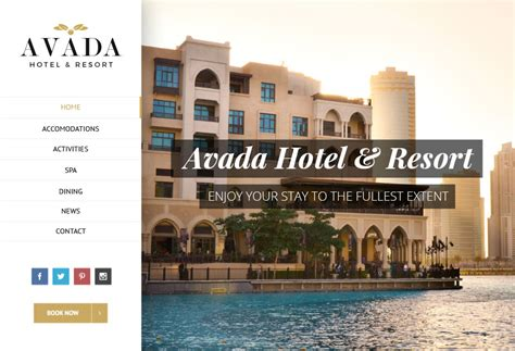 avada theme hotel th 232 mes wordpress pour sites vitrines simples