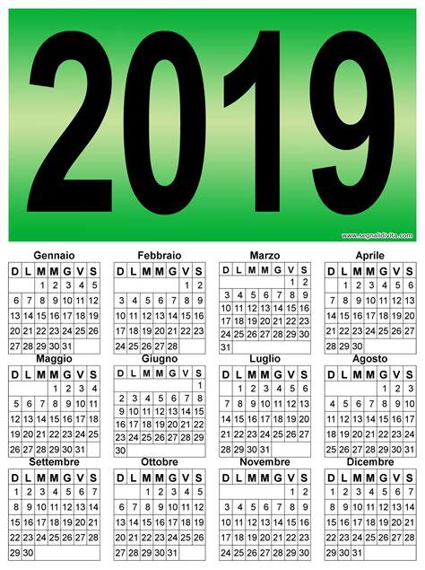 Calendario 2019 Italiano Calendario Verticale Grafico 2019