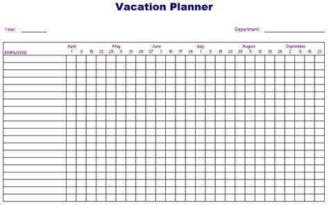 employee vacation planner template employee vacation planner excel template 2017 microsoft