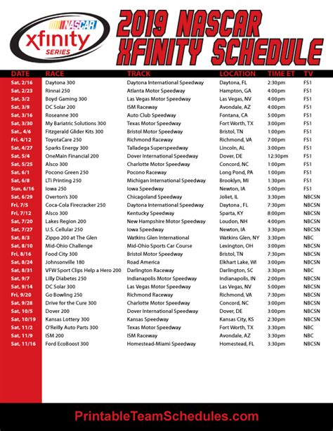 Printable Nascar Schedule 2018