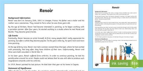 biography text type renoir factual recount biography writing sle literacy