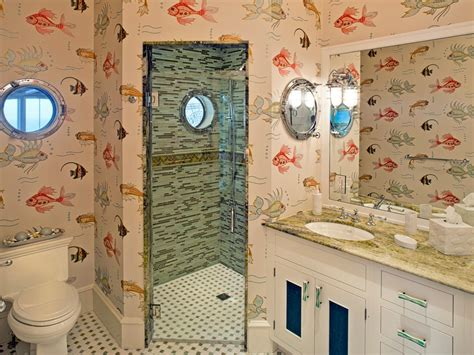 fish wallpaper bathroom fish and mermaid bathroom decor hgtv pictures ideas hgtv