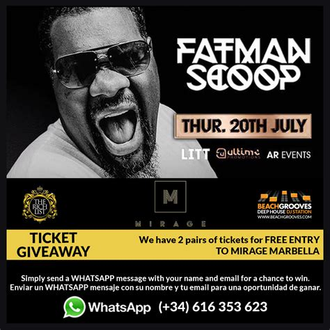 Ticket Sweepstakes - fatman scoop ticket giveaway for mirage marbella beachgrooves