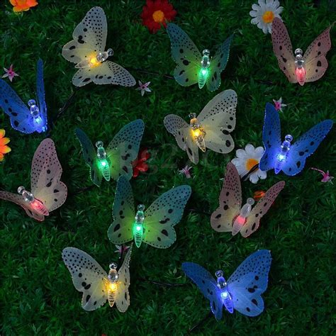 Solar Powered Butterfly String Lights 10 Led Solar Powered Butterfly Fiber Optic String