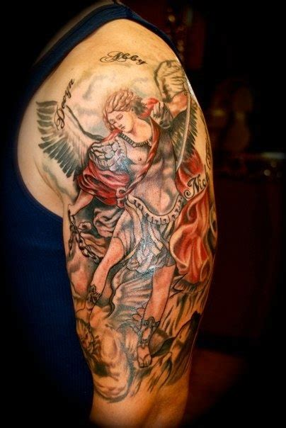 miami ink sleeve tattoo designs st michael tattoos st michael