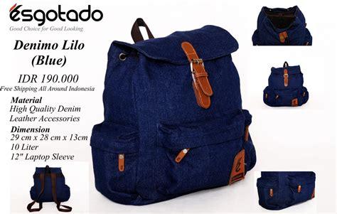 Tas Ransel Backpack Esgotado Denimo Lilo jual tas ransel cewek denimo lilo blue biru tua murah bebas ongkir toko maknyuss