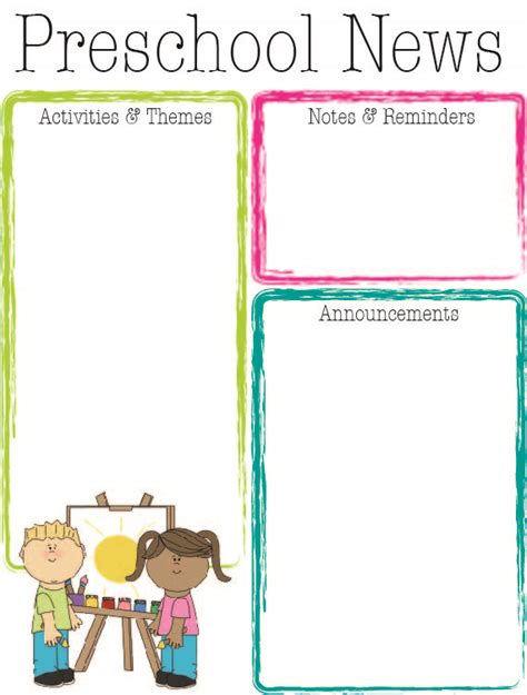 Preschool Bright Color Newsletter The Crafty Teacher Preschool Weekly Newsletter Template