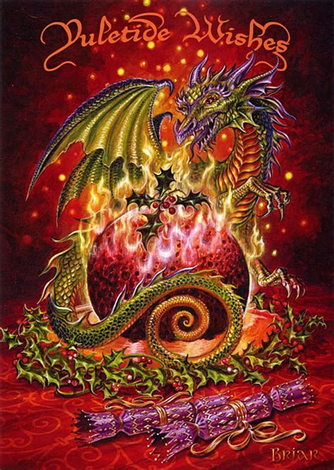 flaming dragon pudding yule card    gryphons moon