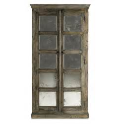 Armoire Cupboards Antiqued Cabinet Mirror Panels