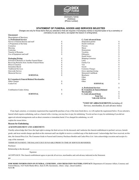 funeral billing statement template in word and pdf formats