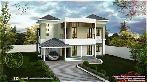 home desine modern two storied house exterior kerala home design and