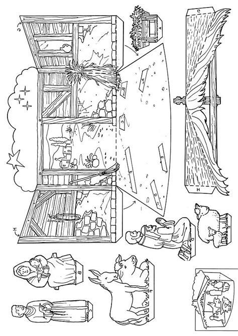 free printable nativity diorama xmas coloring pages