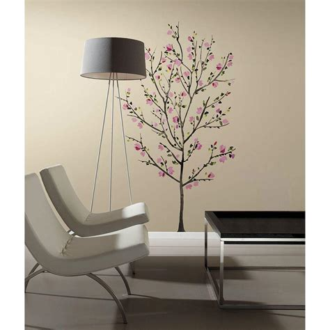 peel and stick wall decor roommates 2 5 in x 27 in pink blossom tree peel and