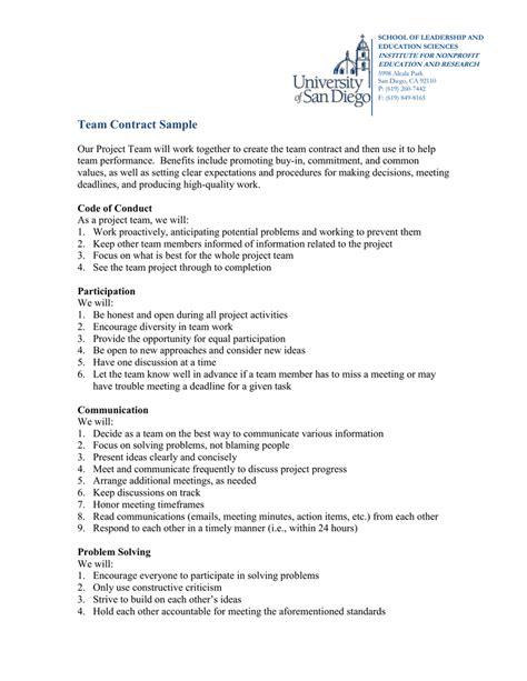 98 Sle Team Contract Team Contract Template New Graphic Design Free Developing A Charter Team Contract Template