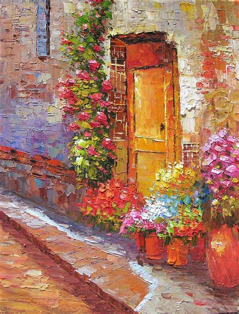acrylic painting door made to order original painting palette knife textured