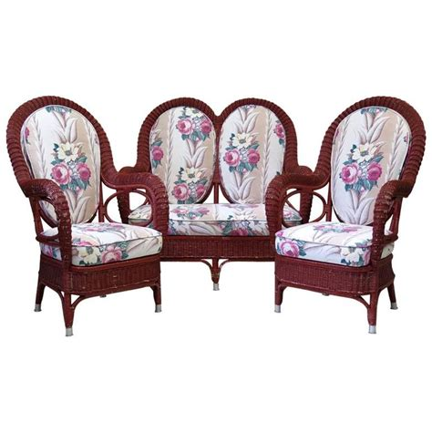 settees and armchairs wicker settee and two armchairs france circa 1930s for