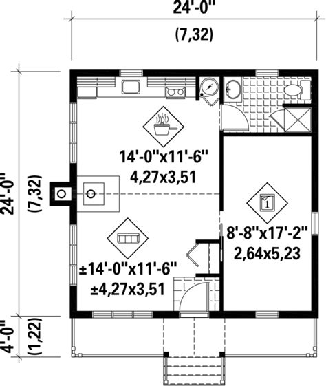 cabin style house plan 1 beds 1 baths 576 sq ft plan 25