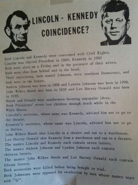 lincoln kennedy coincidences coincidence jfk and lincoln try again