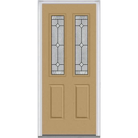 Fiberglass Exterior Doors With Glass Milliken Millwork 33 5 In X 81 75 In Carrollton Decorative Glass 2 Lite Painted Fiberglass
