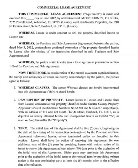 sle standard commercial lease agreement 7 exles