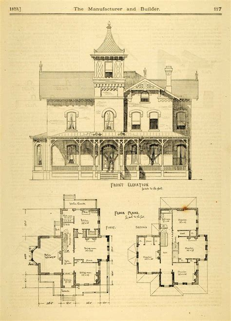 1873 Print House Home Architectural Design Floor Plans Large Vintage House Plans
