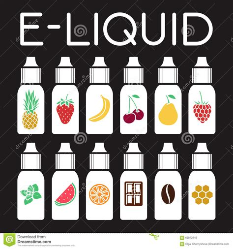 Eliquid E Liquid Tsty Wine vector icons of tastes of electronic cigarette stock vector image 65872845
