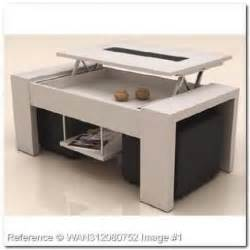 table basse plateau relevable h 234 tre laqu 233 2 poufs noir