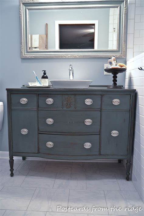 repurposed furniture for bathroom vanity hometalk repurposing our dining room buffet into a