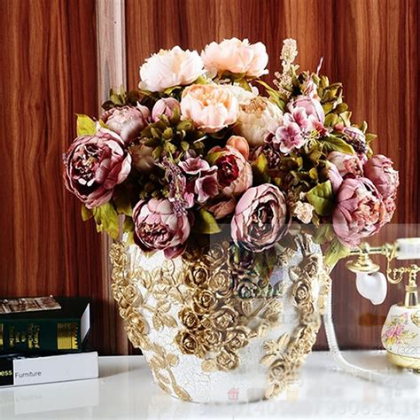 heads vintage artificial peony silk flower wedding home decor picture vintage artificial peony silk flower room wedding floral