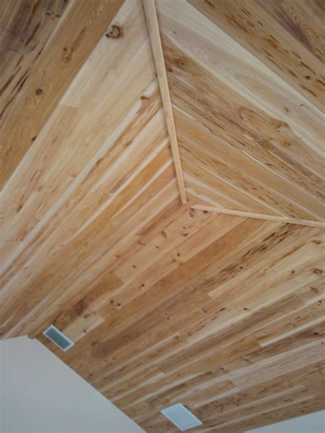 Reclaimed Wood Vs New Wood pecky cypress tongue and groove vaulted ceiling