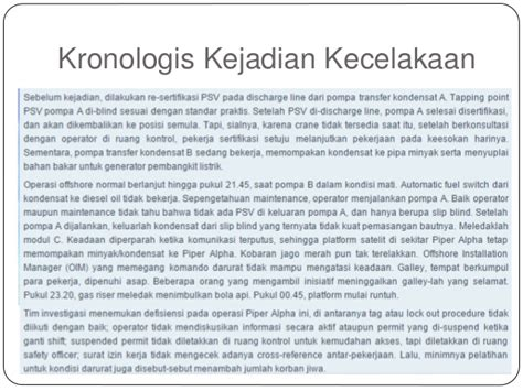 Contoh Kronologis Kecelakaan by Tugas Besar Investigasi Kecelakaan