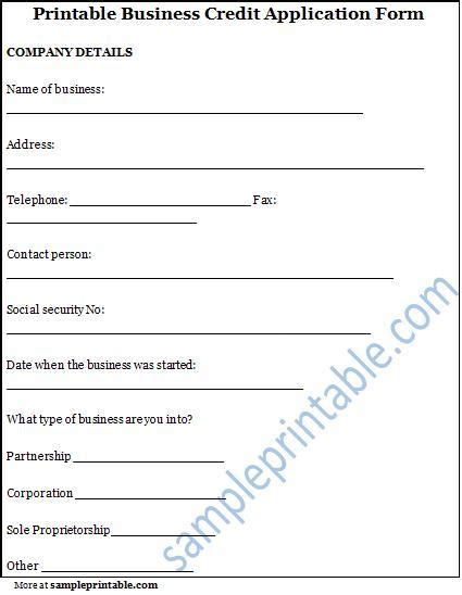 Simple Business Credit Application Template sle credit application form simple and easy to use