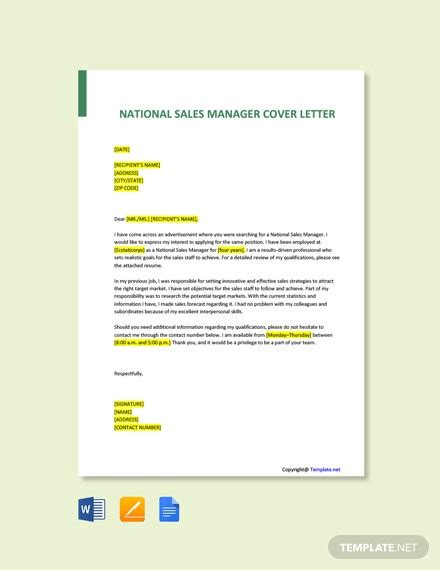 national sales manager cover letter template word