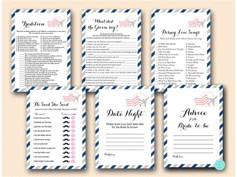 travel bridal shower game package magical printable