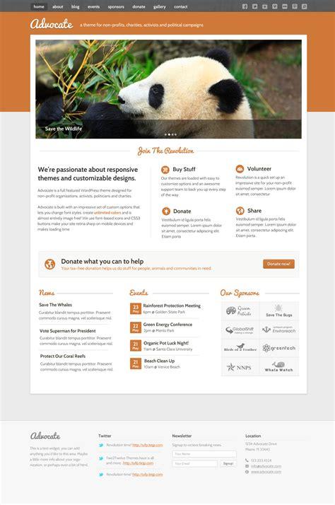 themeforest nonprofit advocate a nonprofit wordpress theme by two2twelve