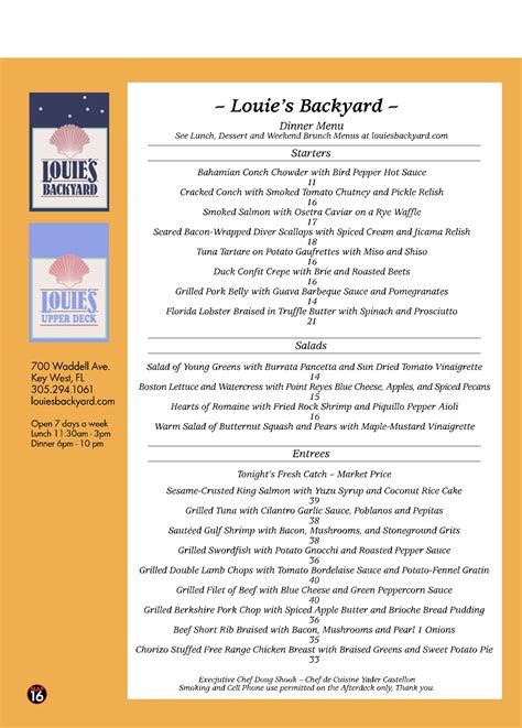 Backyard Cafe Menu by Louie S Backyard Restaurant Menu Key West Best Key West