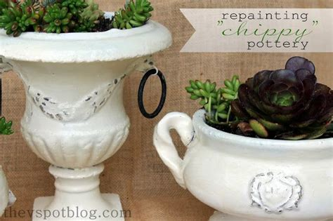 shabby chic flower pots using vaseline and spray paint for a shabby chic flower pot make vaseline and spray painting