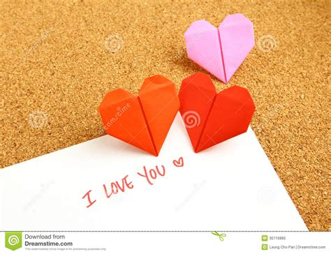 Origami Message - origami paper hearts with message royalty free stock photo