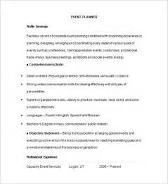 Event Resume Template by Event Planner Resume Template 11 Free Sles Exles