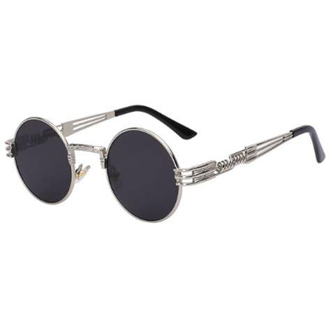 retro industrial circular sunglasses onyx bunny