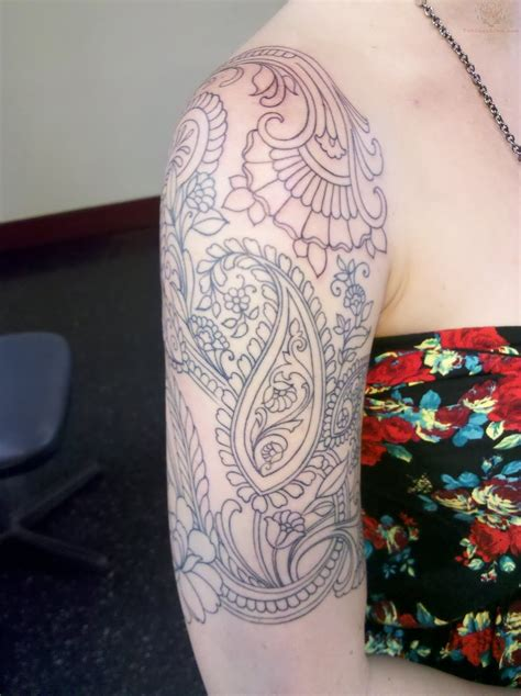 paisley tattoo sleeve 40 paisley pattern tattoos on sleeve