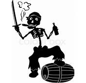Cartoon Evil Zombie Pirate Jolly Roger  Stock Vector
