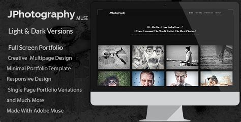 jphotography minimal photography portfolio muse template