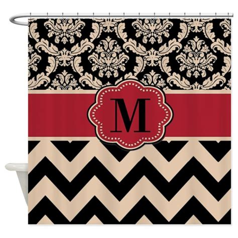 red chevron shower curtain red tan damask chevron shower curtain by