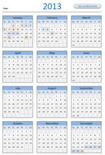 Excel Calendar Template 2013 by Free 2013 Calendar And Print Year 2013 Calendar