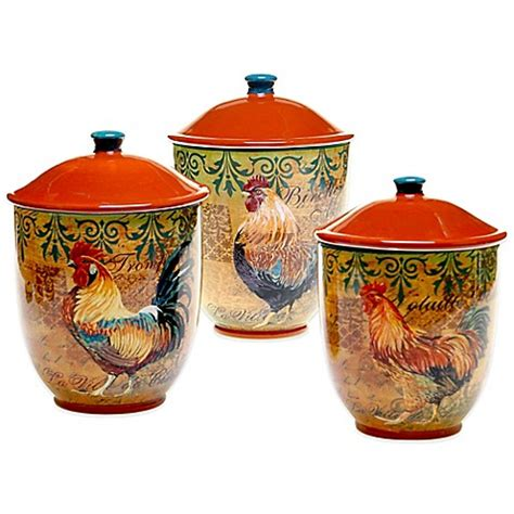 ceramic kitchen canister sets key west 3 piece ceramic certified international rustic rooster 3 piece canister
