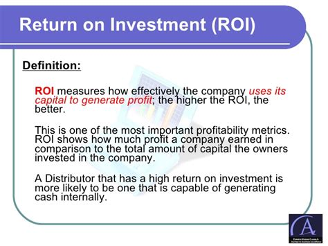 investment presentation template distributor pl roi presentation template