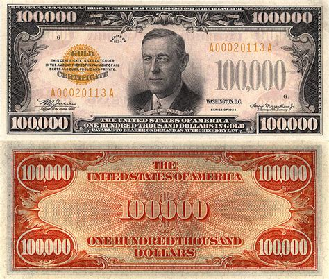 100 000 Dollar In Der 100000 Dollar Bill Front And Back Pictures To Pin On Pinsdaddy
