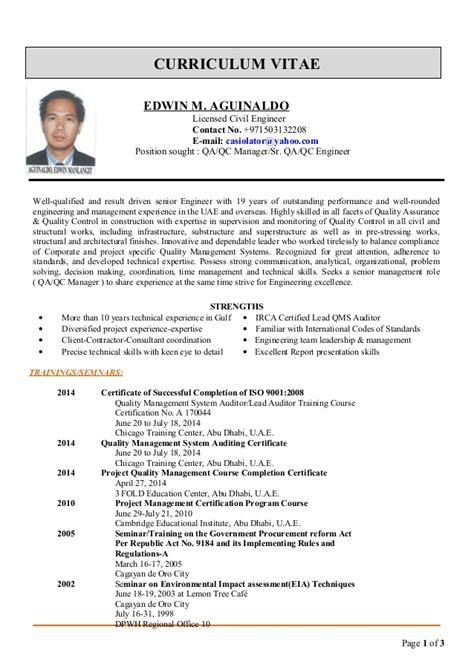 edwin cv for QA QC Manager