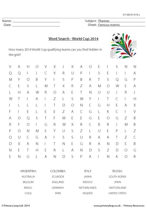 Free Worldwide Search 40 Free World Cup Worksheets And Lesson Plans